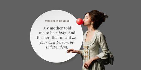 Plantilla de diseño de Funny Citation with Woman blowing Bubblegum Twitter