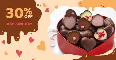 Ontwerpsjabloon van Facebook AD van Kissing Day Offer with Heart-Shaped Sweets