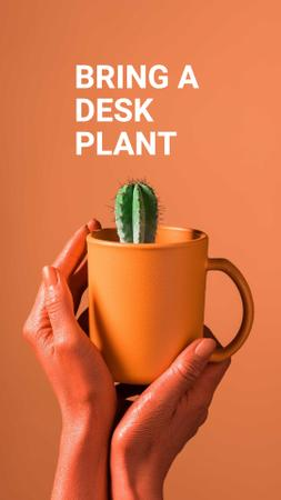 Ecology Concept with Cactus in Cup Instagram Story – шаблон для дизайна
