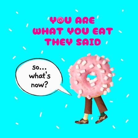 Funny Pink Donut with Legs Instagram – шаблон для дизайну