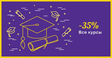 Courses Discount Offer with Graduation Hat Facebook AD – шаблон для дизайна