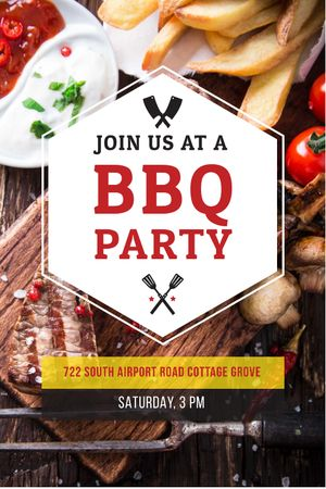 BBQ Party Invitation with Grilled Meat Tumblr Modelo de Design