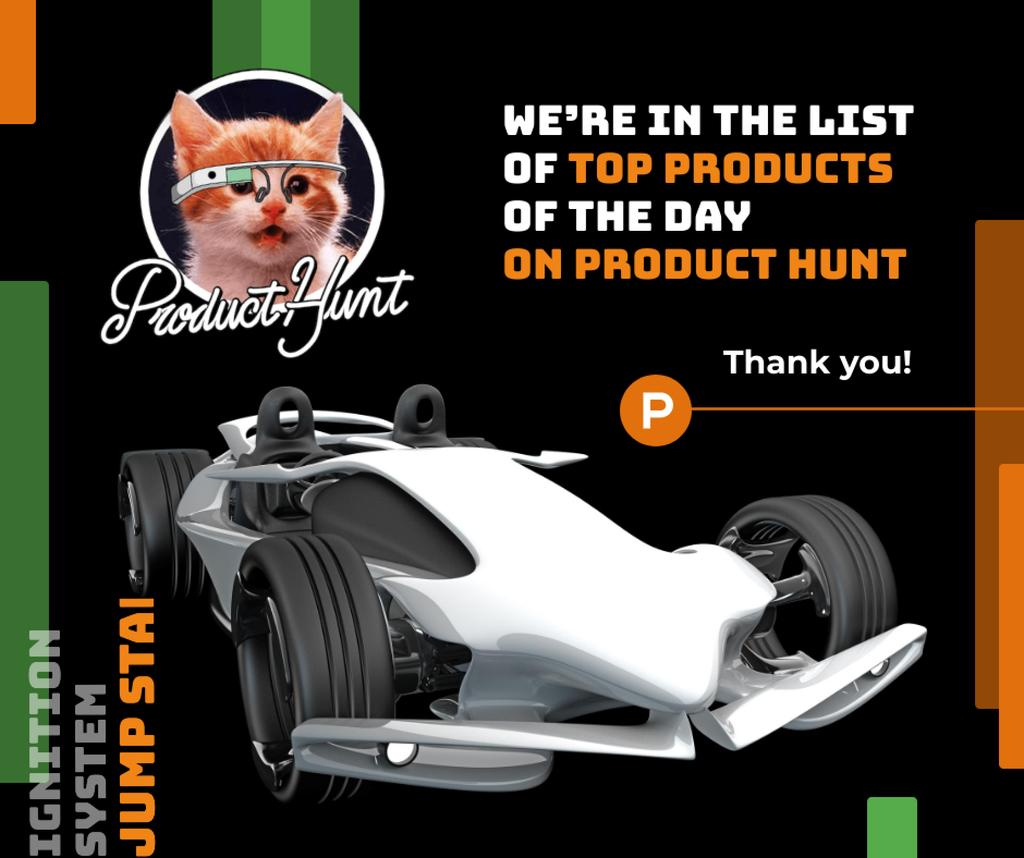Product Hunt Launch Ad Sports Car Facebook – шаблон для дизайну