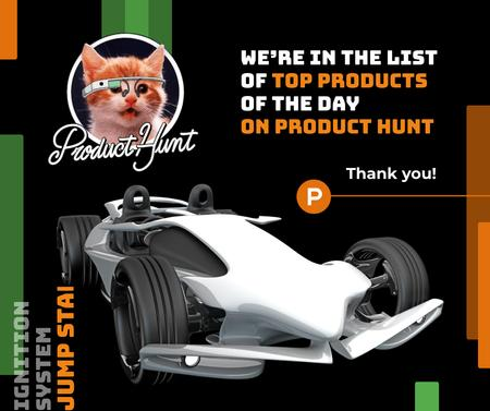 Product Hunt Launch Ad Sports Car Facebook Modelo de Design
