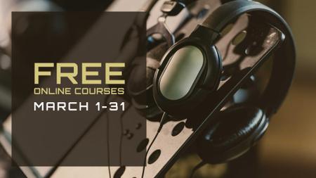 Podcast promotion Headphones in studio FB event cover Modelo de Design
