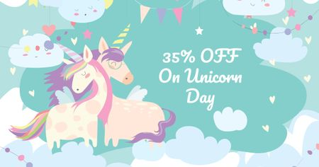 Ontwerpsjabloon van Facebook AD van Unicorn Day Discount Offer