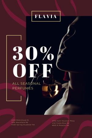 Perfumes Sale Offer with Woman applying Perfume Pinterest Design Template