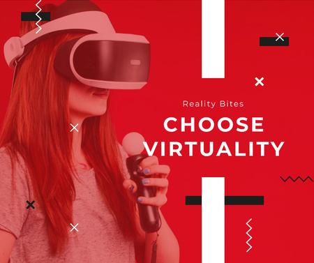 Woman using vr glasses in red Facebook Modelo de Design