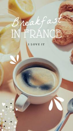 Designvorlage Coffee and Croissants on Breakfast für Instagram Story