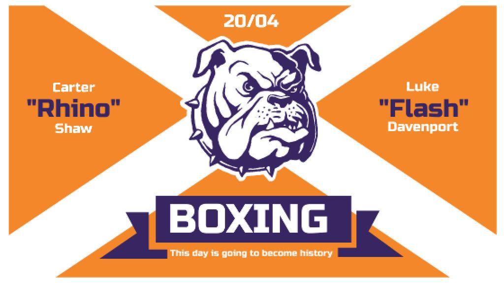 Boxing Match Announcement Bulldog on Orange — ein Design erstellen