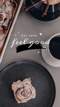 Cup of Coffee and Cinnamon Bun Instagram Story – шаблон для дизайна
