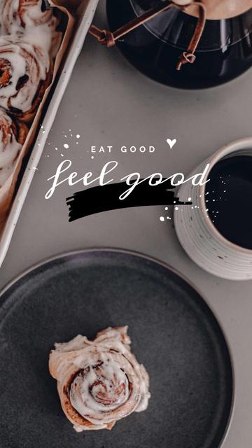 Designvorlage Cup of Coffee and Cinnamon Bun für Instagram Story
