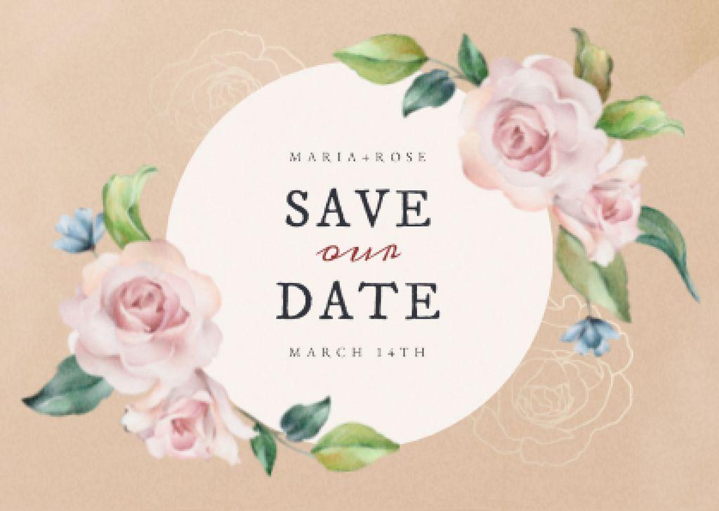 Wedding Day Announcement with Tender Roses Card – шаблон для дизайна