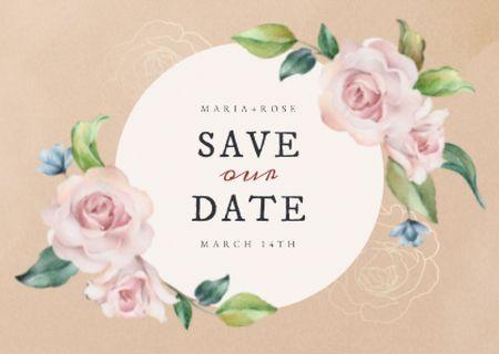 Modèle de visuel Wedding Day Announcement with Tender Roses - Card