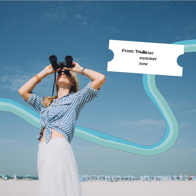 Stylish Girl on Beach with Binoculars Animated Postデザインテンプレート