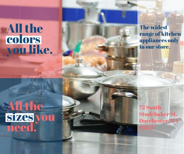 Kitchen Utensils Store Ad Pots on Stove Facebook Tasarım Şablonu