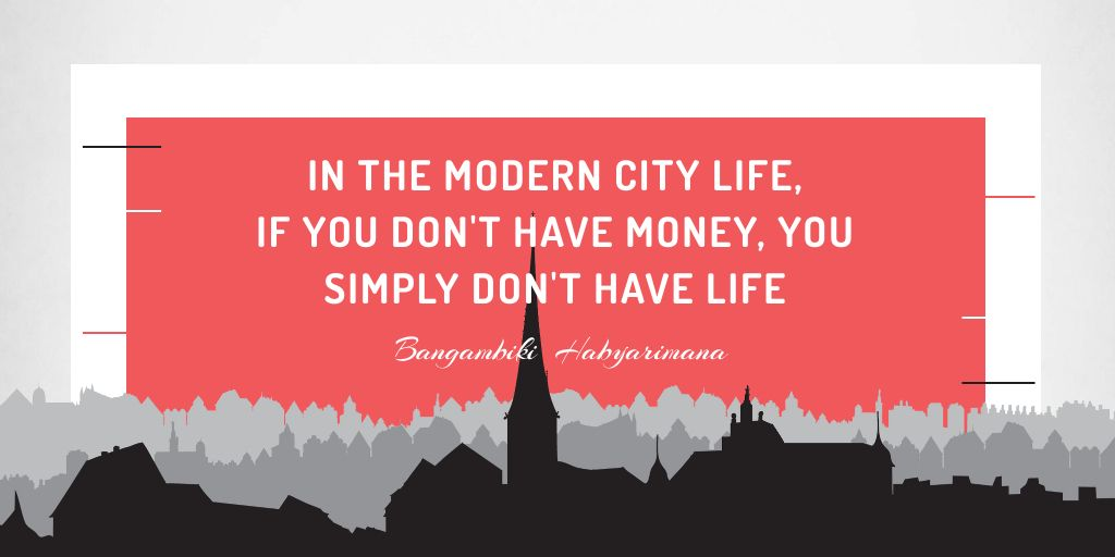 Plantilla de diseño de Citation about money in modern city life Twitter