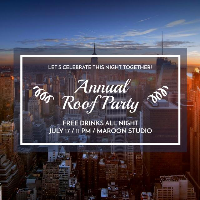 Roof party invitation on city view Instagram AD – шаблон для дизайна