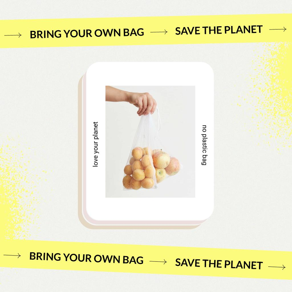 Vegan Lifestyle Concept with Fruits in Eco Bags Instagram Design Template