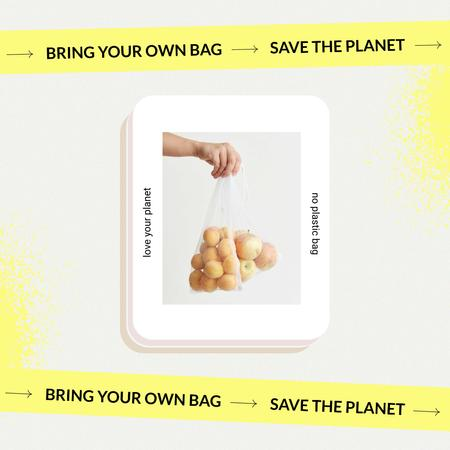 Vegan Lifestyle Concept with Fruits in Eco Bags Instagramデザインテンプレート