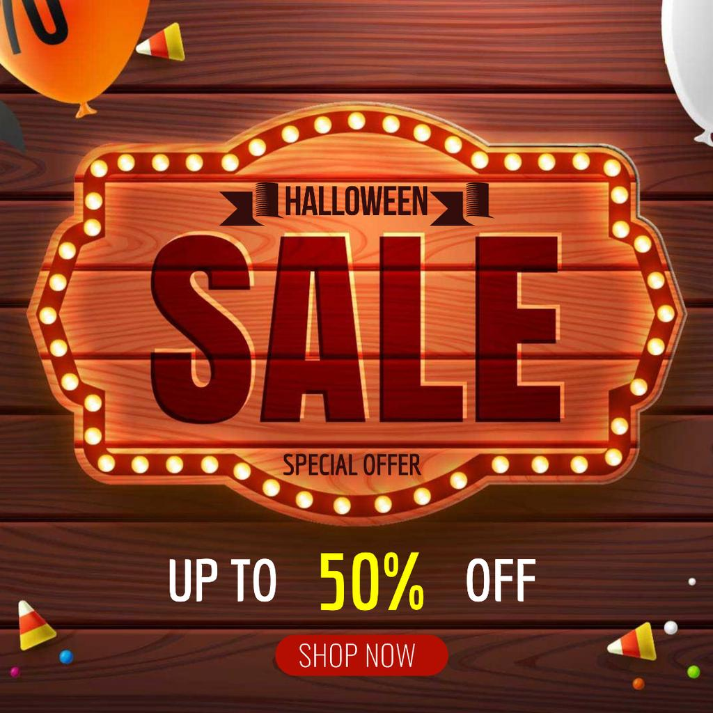 Halloween sale badge with balloons — Maak een ontwerp