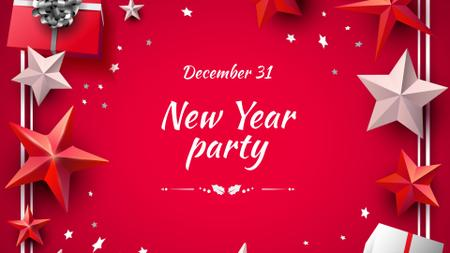 New Year Party Announcement with Festive Stars FB event cover – шаблон для дизайна