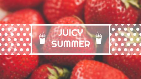 Summer Offer with Red Ripe Strawberries Youtube Design Template