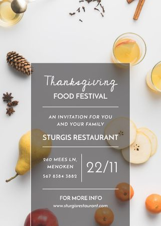 Template di design Thanksgiving Festival Autumn Fruits and Spiced Tea Invitation