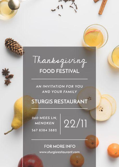 Plantilla de diseño de Thanksgiving Festival Autumn Fruits and Spiced Tea Invitation