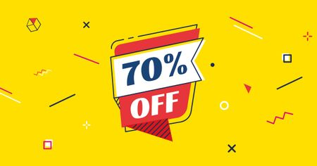 Modèle de visuel Discount Offer on Speech Bubble in Yellow - Facebook AD
