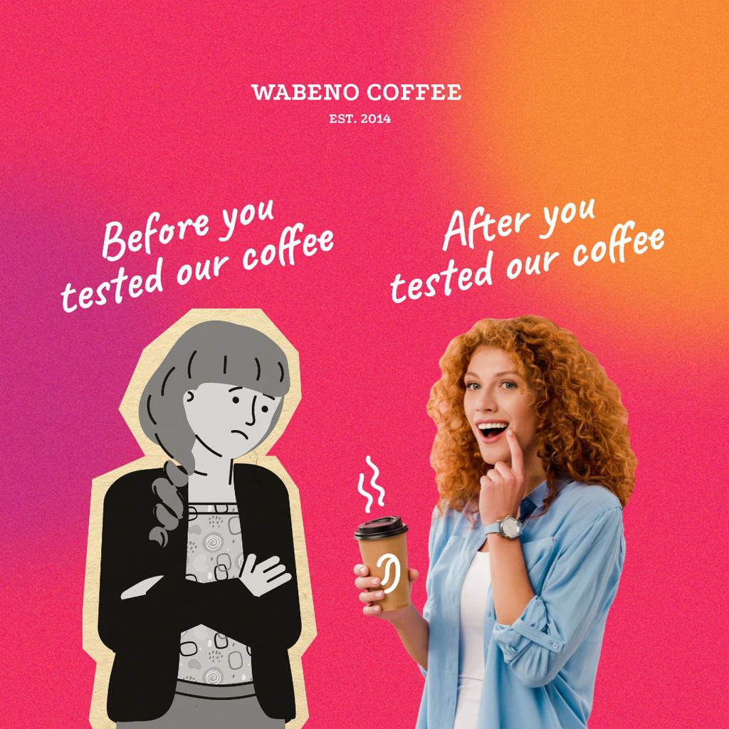 Ontwerpsjabloon van Instagram van Funny Coffeeshop Promotion with Woman holding Cup