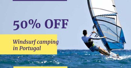 Designvorlage Windsurf Camps Ad with Man riding Board für Facebook AD