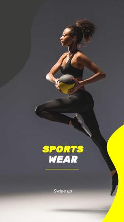Sports Wear Ad with Fit Woman Instagram Story Modelo de Design