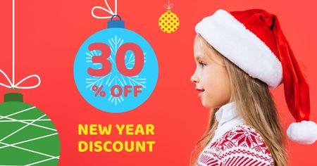 Designvorlage New Year Discount Offer with Cute Child in Santa's Hat für Facebook AD