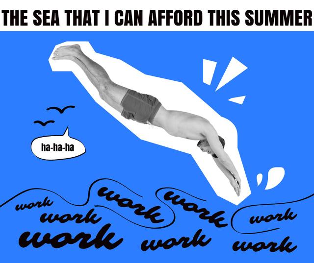 Funny Illustration of Man diving into Work Facebook Modelo de Design