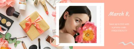 Makeup Gift Girl Holding  March 8 Flower Facebook Video cover – шаблон для дизайну