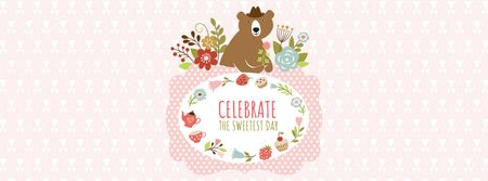 Designvorlage Sweetest Day Greeting with Cute Bear für Facebook cover