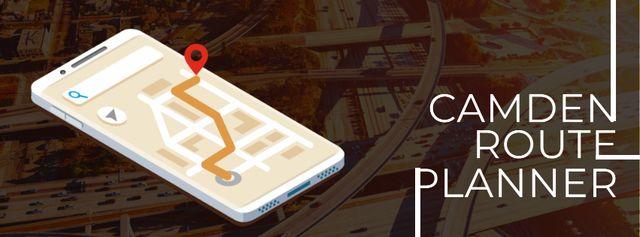 Navigation app on phone screen Facebook Video cover Modelo de Design