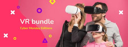 Cyber Monday Ad with Family in VR Glasses Facebook coverデザインテンプレート