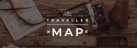 Travelling Inspiration Map with Vintage Camera Tumblr – шаблон для дизайну