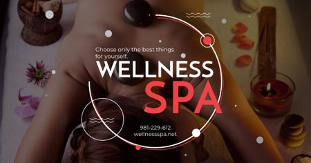Wellness spa Ad with relaxing Woman Facebook AD Modelo de Design