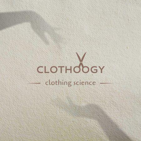 Clothing Brand Ad with Scissors Illustration Logo – шаблон для дизайну