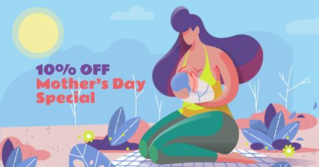 Ontwerpsjabloon van Facebook AD van Mother's Day Offer with Mother feeding Child