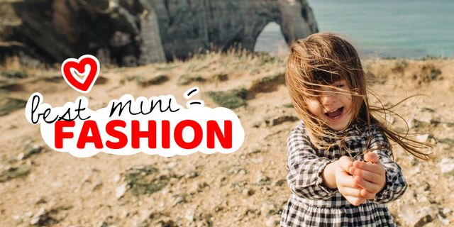 Kids' Clothes ad with Cute Girl Twitter Design Template