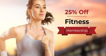 Template di design Fitness Membership Discount Offer with Running Woman Facebook AD