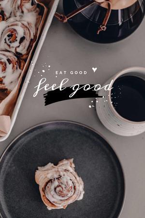 Platilla de diseño Cup of Coffee and Cinnamon Bun Pinterest
