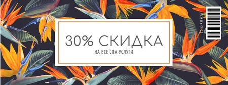 Spa Services Offer on Floral Pattern Coupon – шаблон для дизайна
