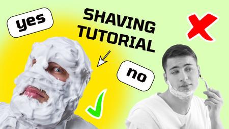 Shaving Tutorial with Funny Man in Foam Youtube Thumbnail – шаблон для дизайну