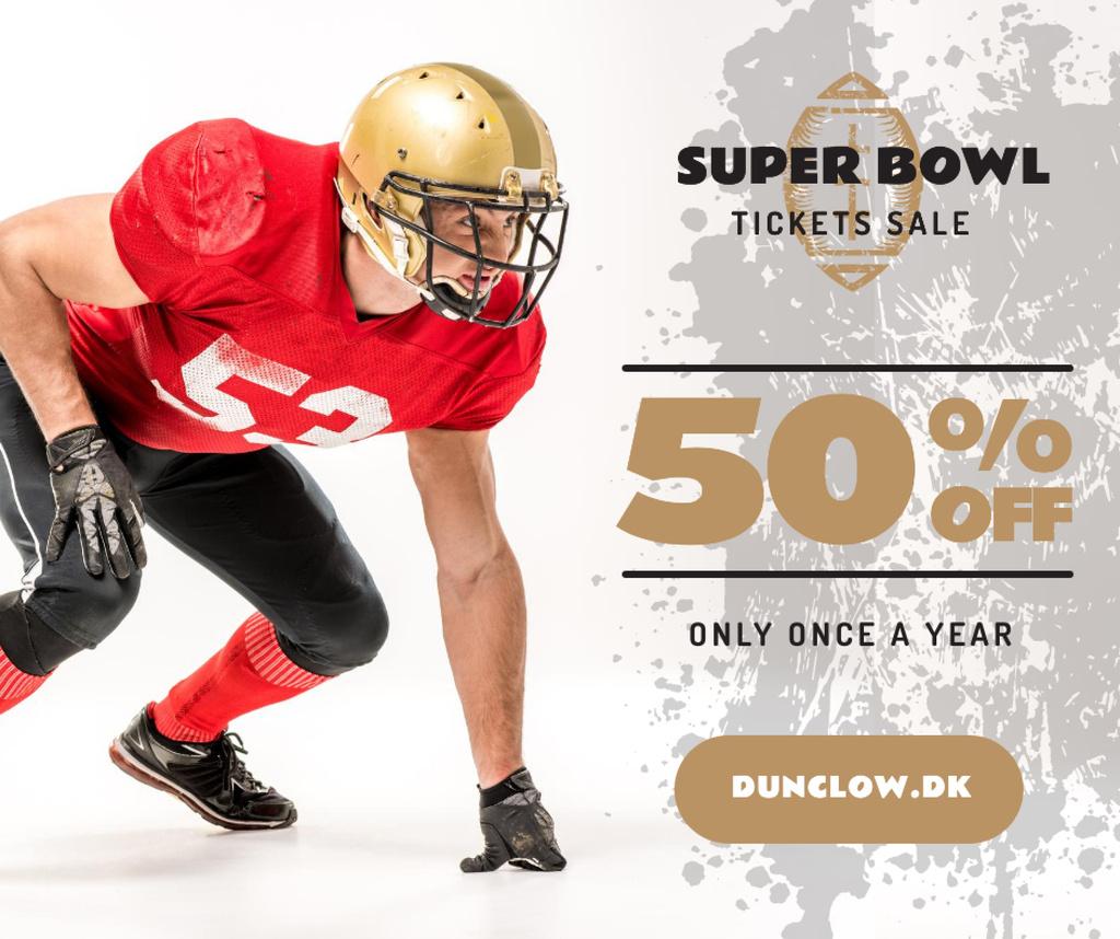 Super Bowl Match Offer Player in Uniform — Modelo de projeto