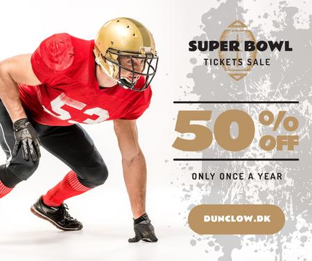 Super Bowl Match Offer Player in Uniform Facebook Design Template